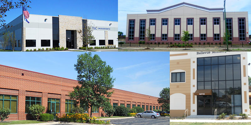 Collage of buildings featured on the Home Page